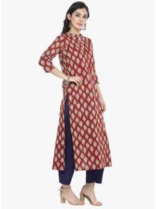 Varanga Red Printed Kurta with indigo solid pants