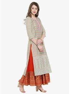 Varanga Beige Multi Printed Kurta with Orange printed skirt