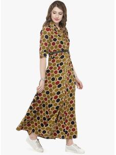 Varanga Mustard Printed Shirt Dress