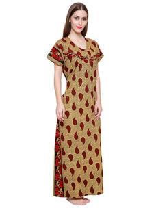Secret Wish Women's Cotton Red Maternity Nighty (Red, Free Size)