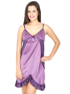 Secret Wish Women's Satin Mauve Babydoll Dress (Mauve, Free Size)