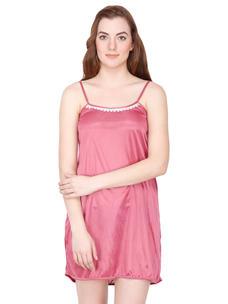 Secret Wish Satin Mauve Babydoll Night Dress