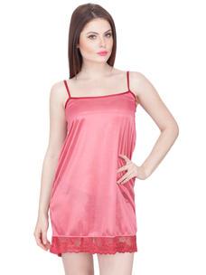 Secret Wish Women's Satin Babydoll Dress (Beige, Free Size)