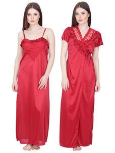 Secret Wish Women's Satin Nighty with Robe (Maroon, Free Size)