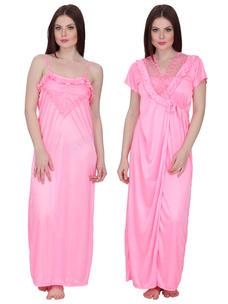 Secret Wish Women's Satin Nighty with Robe (Pink, Free Size)