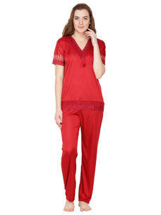 Secret Wish Satin Maroon Nightsuit
