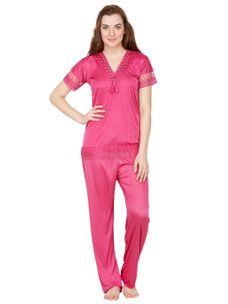 Secret Wish Satin Pink Nightsuit