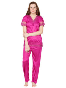 Secret Wish Satin Magenta Nightsuit