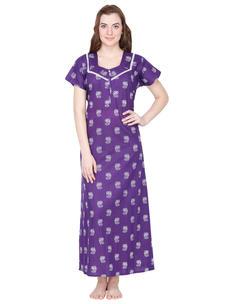 Secret Wish Cotton Purple Nighty, Nightdress