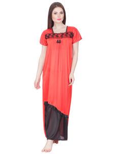 Secret Wish Women's Satin Nighty (Red, Free Size)