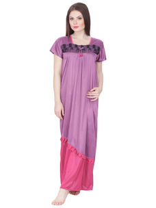 Secret Wish Women's Satin Nighty (Purple, Free Size)