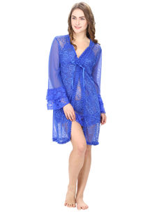 Blue Lacy Babydoll With Lacy Robe