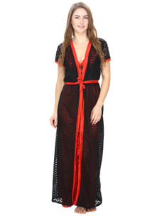 Satin Red Nighty With Black Robe