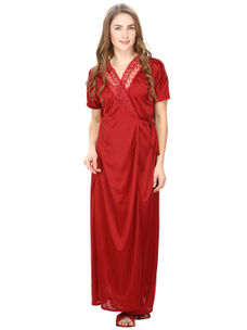 Satin Maroon Robe, Nightdress set of 10 (Free Size)