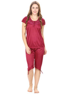 Satin Magenta Robe, Nightdress set of 10 (Free Size)