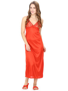 Satin Red Robe, Nightdress set of 10 (Free Size)