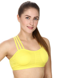 Yellow Racer Back Sports Bra