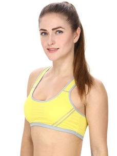 Yellow Sports Bra With Racer Back