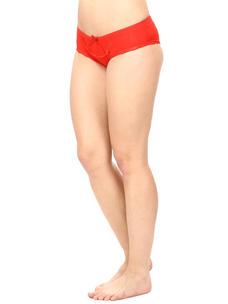 Mid Waist Bikini Panty-Red