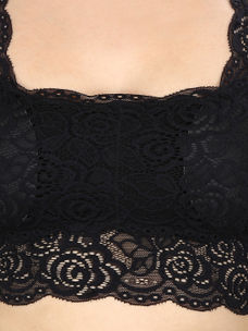 Black Solid Lacy Top