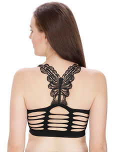 Secret Wish Butterfly Lace Back Padded Black Bra