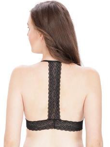 Secret Wish Black Padded Cross Back Bralette Lacy