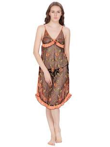 Secret Wish Women's Net, Satin Salmon Babydoll (Orange, Free Size)