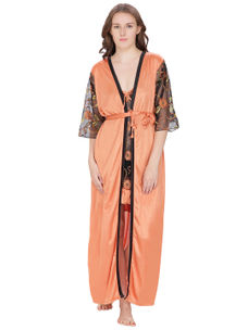 Secret Wish Women's Net, Satin Salmon Robe (Orange, Free Size)