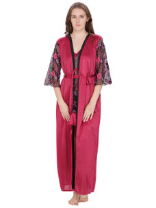 Secret Wish Women's Net, Satin Magenta Robe (Red, Free Size)
