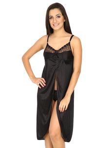 Secret Wish Women's Satin Black Babydoll Dress (Black, Free Size)