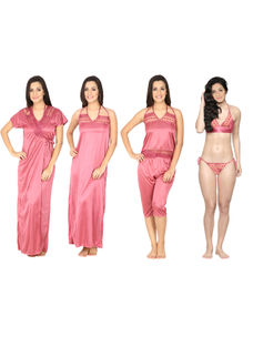 Secret Wish Women's Satin Pink Nighty, Nightdress Set Of 6 (Free Size)
