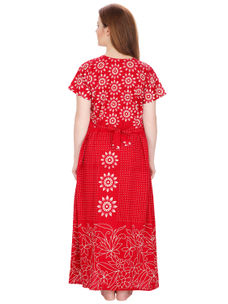 Secret Wish Women's Cotton Red Nighty (Red, Free Size)