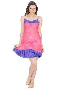 Secret Wish Women's Net, Satin Pink, Blue Babydoll (Pink, Blue, Free Size)
