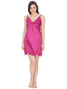 Secret Wish Women's Satin Purple Babydoll (Purple, Free Size)
