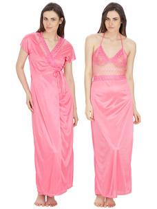 Secret Wish Women's Satin, Net Pink Robe, Nighty (Pink, Free Size)