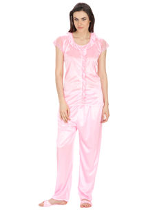 Secret Wish Women's Satin Pink Nightsuit Set with Slippers (Pink, Free Size)
