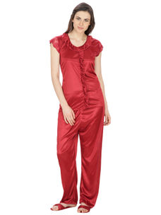 Secret Wish Women's Satin Maroon Nightsuit Set with Slippers (Maroon, Free Size)