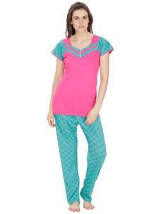 Secret Wish Women's Hosiery Pink, Green Nightsuit Set (Pink, Green, Free Size)