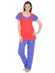 Secret Wish Women's Hosiery Red, Blue Nightsuit Set (Red, Blue, Free Size)