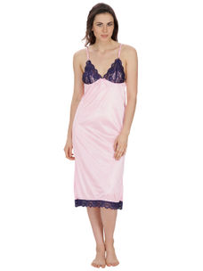 Secret Wish Women's Satin, Net Pink Nighty (Pink, Free Size)