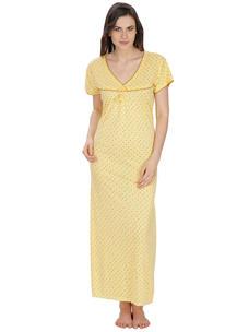 Secret Wish Women's Hosiery Yellow Nighty (Yellow, Free Size)