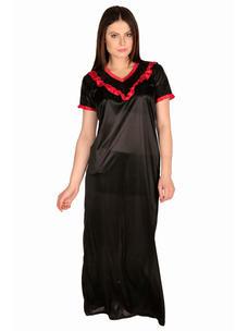 Secret Wish Women's Satin Black Nighty, Nightdress (Free Size, NT-25)