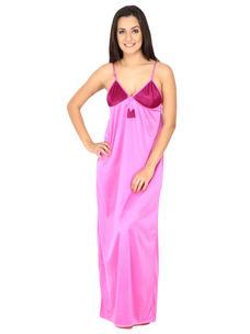 Secret Wish Women's Satin Purple Long Night Dress With Robe Set (magenta, Free Size)
