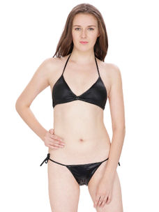 Secret Wish Black Bra Panty Bikini Set