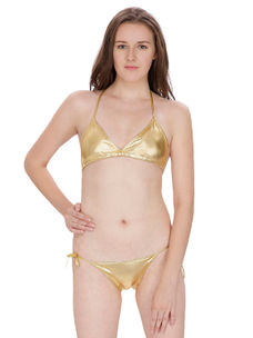 Secret Wish Golden Bra Panty Bikini Set
