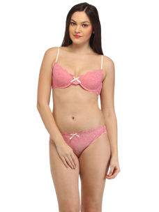 Secret Wish Lacy Pink Underwired Non-Padded Bra