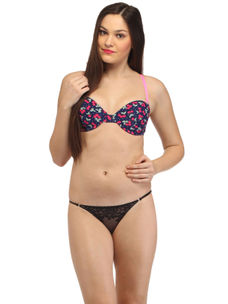 Secret Wish Cherry Print Navy  Underwired Bra