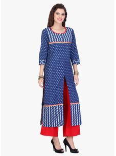 Varanga Indigo Printed Cotton Kurta