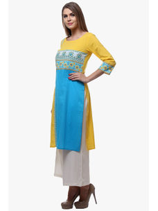 Varanga Yellow Cotton Printed Kurta