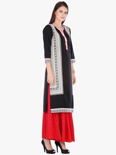 Varanga Black Cotton Printed Kurta